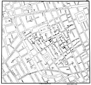 Original map by Dr. John Snow showing the clusters of cholera cases in the London epidemic of 1854