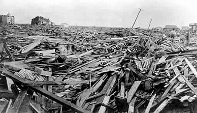 Damage from Galveston Hurricane in 1900