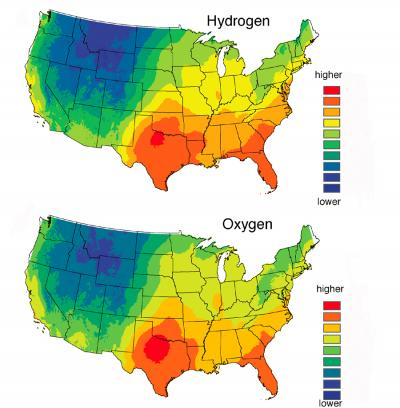 the two maps here show predicted average hydrogen top and oxygen bottom isotope levels in human hair across the continental united states isotopes
