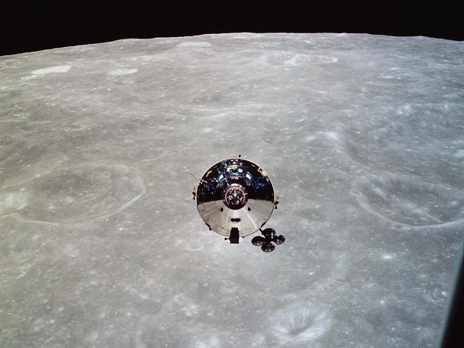 Apollo 10 command module Charlie Brown is seen from the lunar module Snoopy after separation in lunar orbit