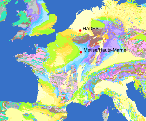 Location of the Belgian HADES and French Meuse/Haute-Marne underground labs