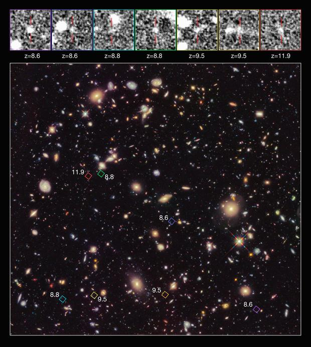 Found: 7 Primitive Galaxies Formed More Than 13 Billion Years Ago