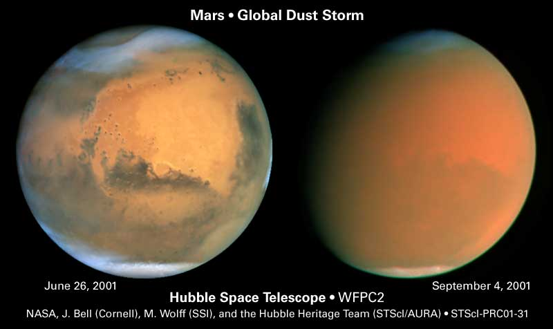 Hubble image showing global dust storm