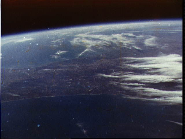 Picture of the Earth taken by John Glenn during his historic Friendship 7 flight.