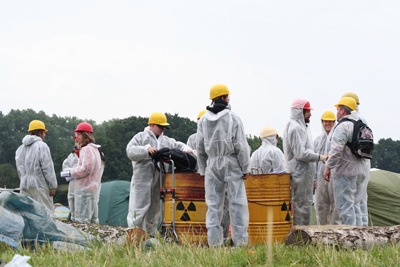 "Green protesters with their ""nuclear waste"""