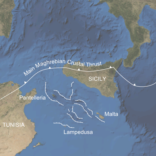 Map of the tectonic setting of Pantelleria