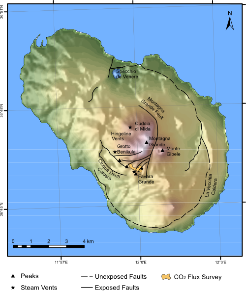 Map showing the main geological features of Pantelleria