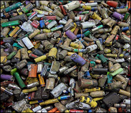 Household batteries in a landfill