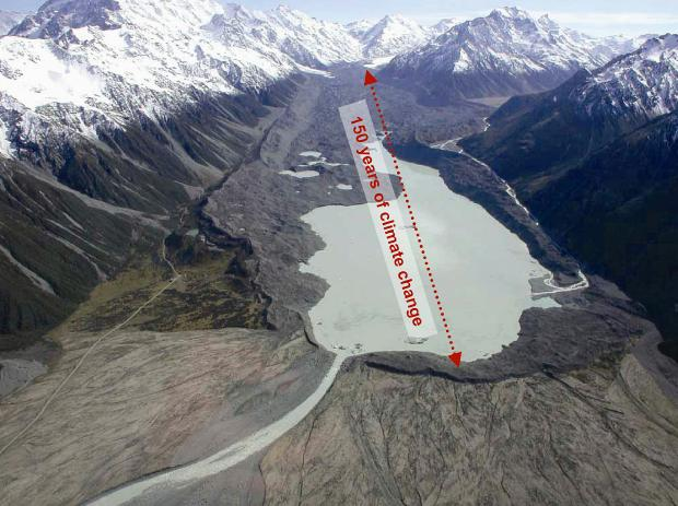Tasman Glacier new zealand melting