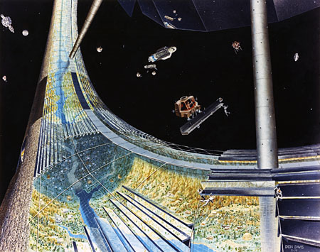 Stanford Torus Interior (NASA), population 10,000, NASA space colony art from the 1970s