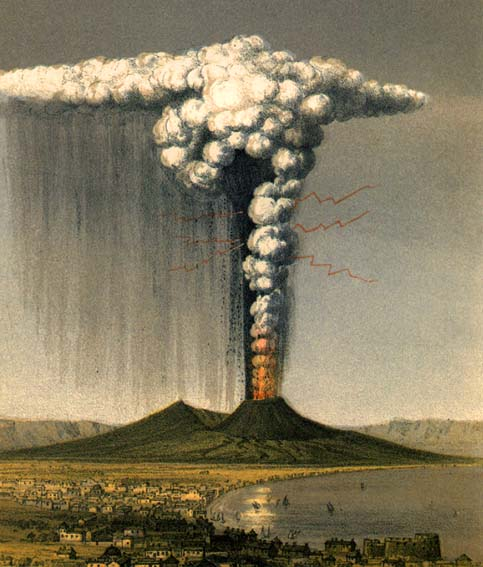 1822 artist rendition of Eruption of Vesuvius, depicting what the AD 79 eruption may have looked like.