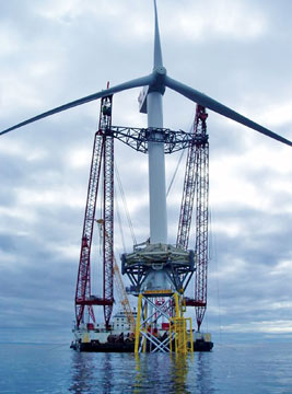 Installation of a wind turbine in the Beatrice Field off Scotland's northeast coast.