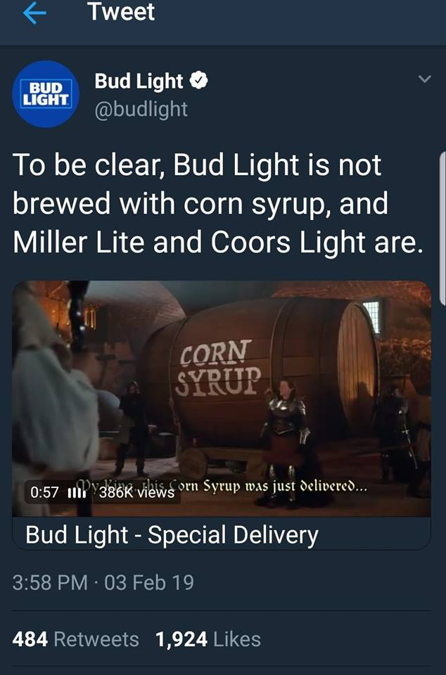 Dear Bud Light: Your Sugar Is Not Superior To Their Sugar - Yeast Can't Tell And Neither Can Humans