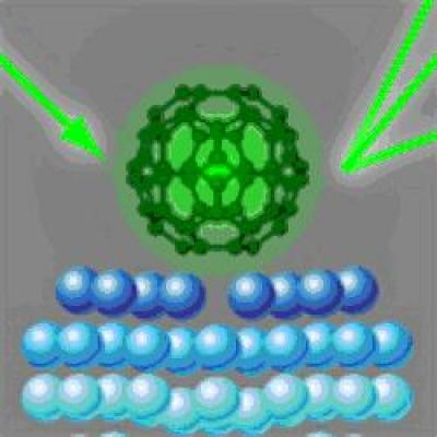 carbon buckyballs C60 molecules on a silver surface with electron diffraction