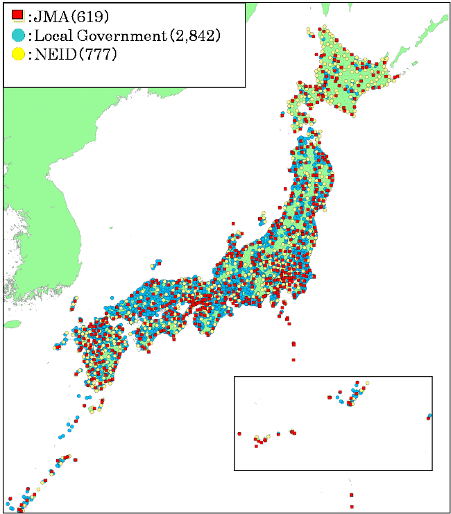 Seismic networks in Japan