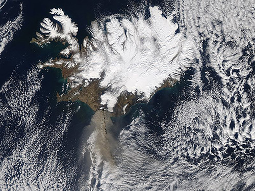 Ash plume from Eyjafjallajökull Volcano, taken by the Aqua Satellite on the 14 April 2010