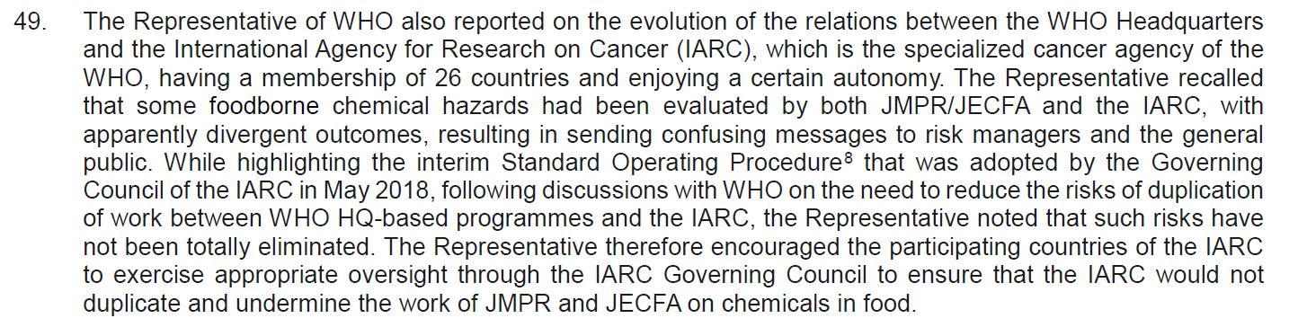 FAO/WHO Codex Alimentarius Meeting Suggests Rogue Activist Group IARC Be Reined In