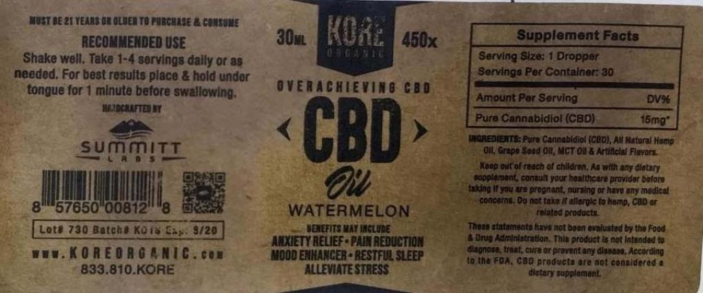 KORE ORGANIC Watermelon CBD Oil Tincture - Now With More Lead!