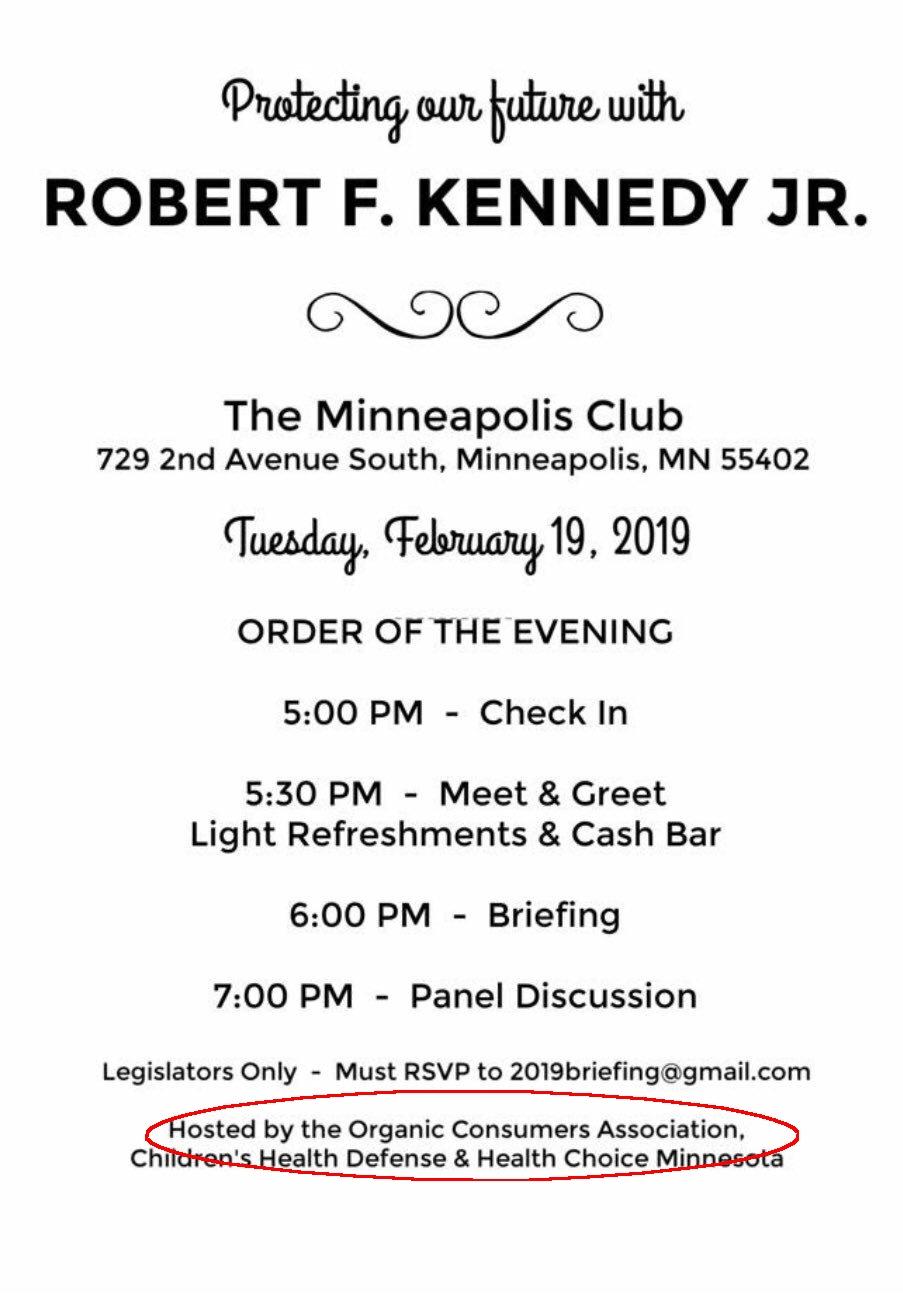 Organic Consumers Association Sponsors Anti-Vaccine Meeting With Robert F. Kennedy, Jr.