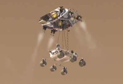 "MSL descends to the martian surface on its ""skycrane"" landing system."