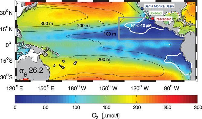 Winds Blowing May Not Prevent Ocean Dead Zones Growing Science - Map showing ocean depths