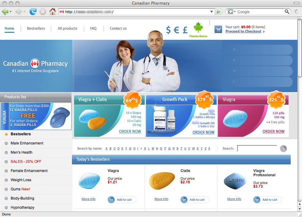 An imitation pharmacy website. Why get Viagra when you can go Professional?