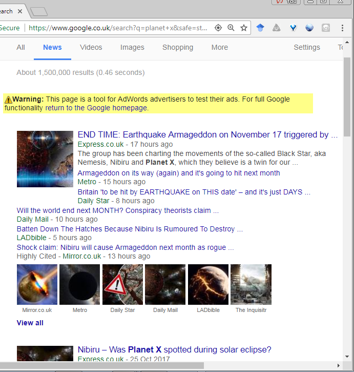 Floods Of Fake Astronomy Fill Google News -  Children As Young As 14 & Younger  Get Scared, Sick & Suicidal
