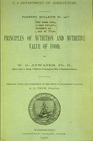 principles of nutrition and nutritive value of food wilbur atwater USDA