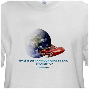 space is just an hour away by car scientific blogging t-shirt