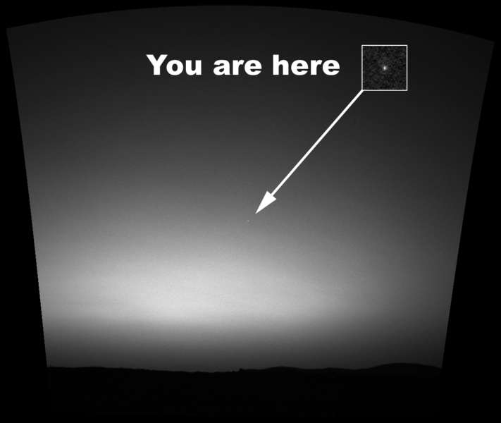 Earth, as seen from the surface of Mars.