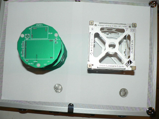 Tubesat next to Cubesat, top view