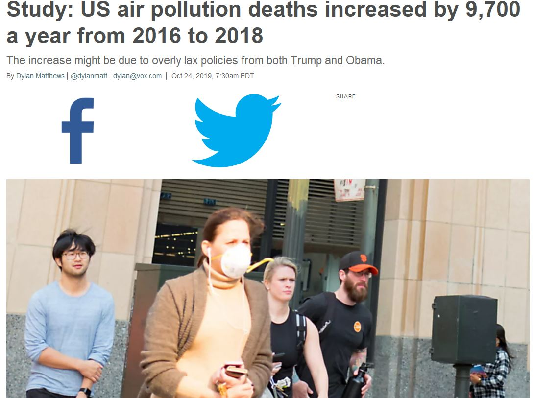 Economists Claim Air Pollution Caused 10,000 More Deaths Due To Trump - It's Political Nonsense