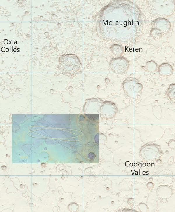 First OS Contour Map For A Mars Region - With ExoMars 2018 Landing Ellipse In Oxia Planum Superimposed
