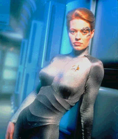 They got right to the cheese by painting on Seven of Nine's costume