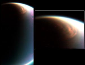 Cassini Images Mammoth Cloud Engulfing Titan's North Pole