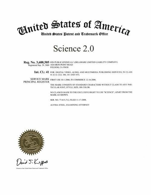Science 2.0 registered trademark USPTO