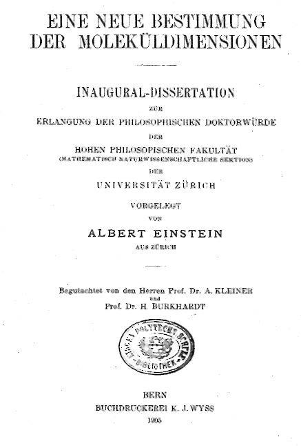 Einstein's Dissertation Front Page